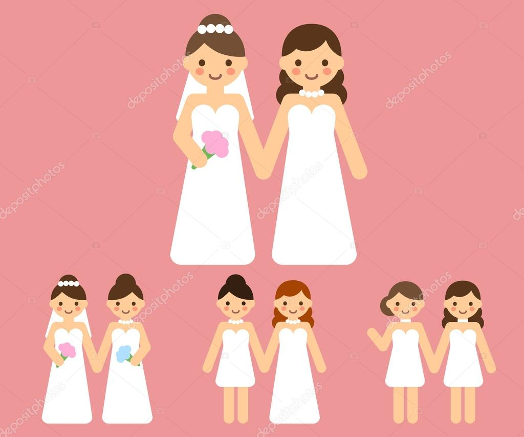 cartoon lesbian wedding couples — stock vector © sudowoodo #77582614