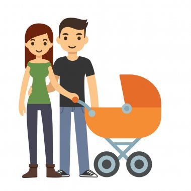 cartoon couple with baby stroller
