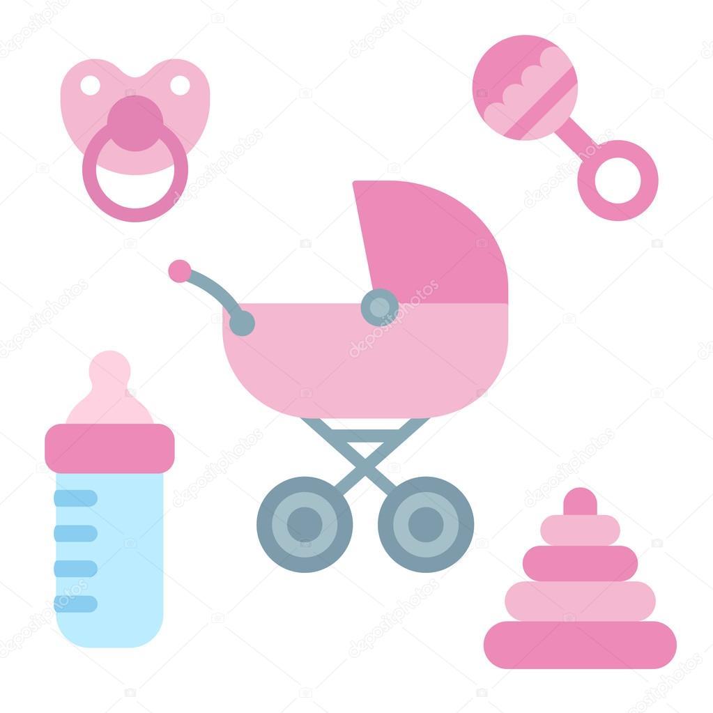 artículos para bebé recién nacido — Vector de stock ...