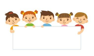 Cartoon children holding banner