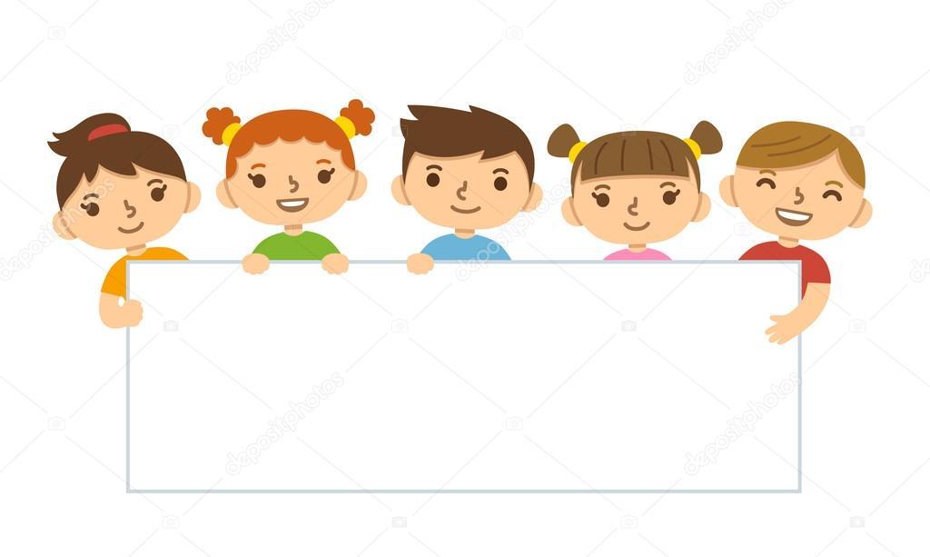 Niños de dibujos animados sosteniendo la bandera — Archivo Imágenes ...