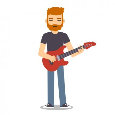 man with beard playing electric guitar