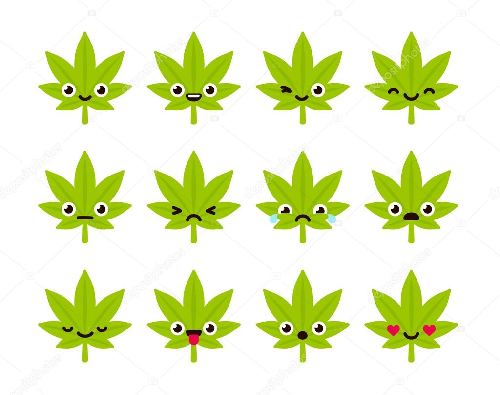 Cute cannabis emoticons