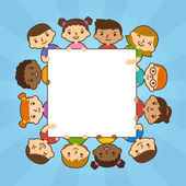 Karikaturenkinder mit Transparent