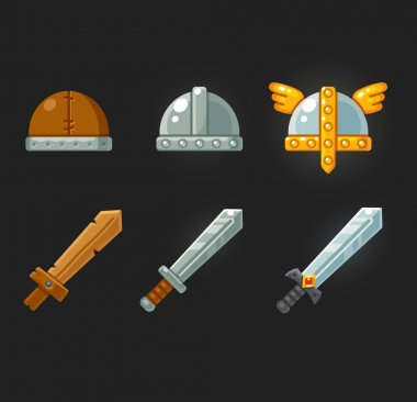 Game swords and helmets set