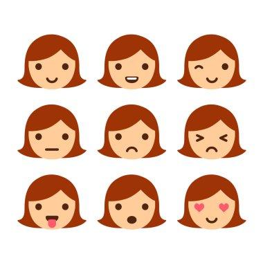 Cute cartoon girl emoticons