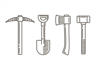 Work tools line icons