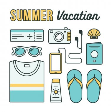 Summer vacation icons