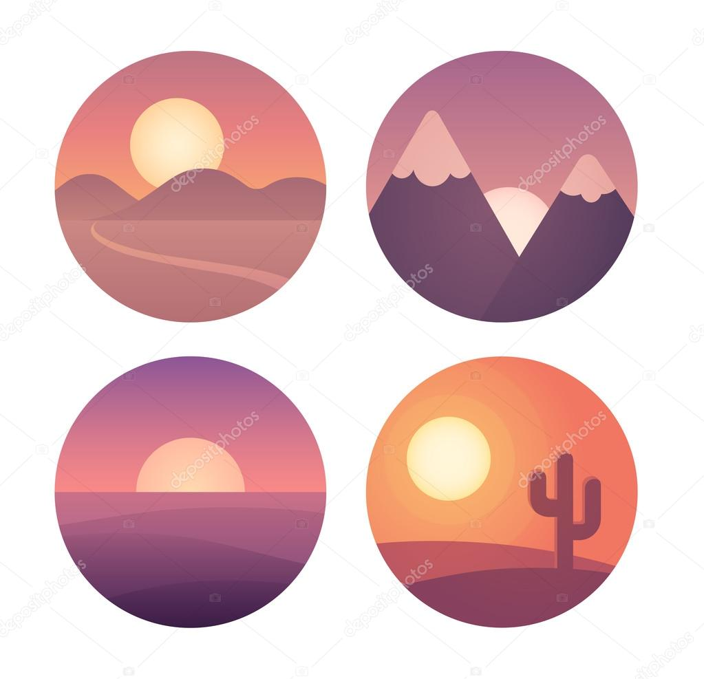 Flat sunset landscape set