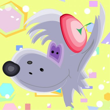 gray wolf children's art background