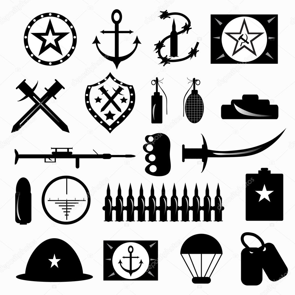 Military Symbols Vector Illustration Stock Vector Leonid980