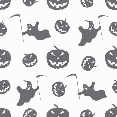monochrome ghosts and pumpkins on a white background seamless pattern