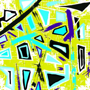 Colored polygons graffiti pattern on a yellow background