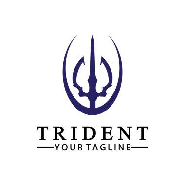 Vintage Trident Spear of Poseidon Neptune God Triton King logo design