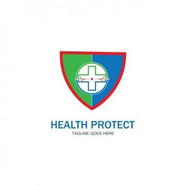 health protection with shield logo design vector template for medical or insurance company-vector
