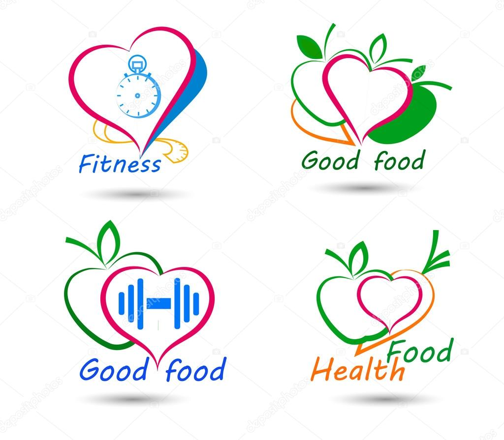 Set wellness symbols healthy food and fitness stock vector set wellness symbols healthy food and fitness stock vector buycottarizona Images