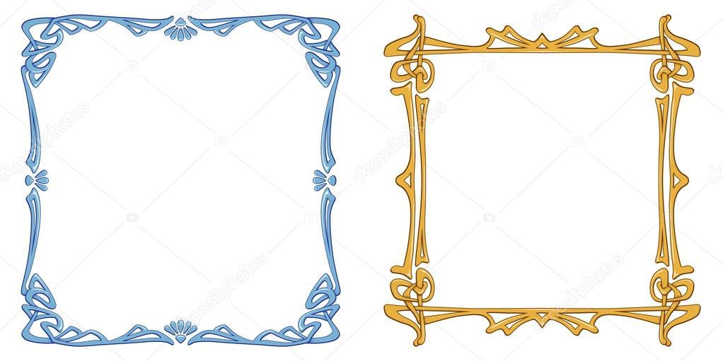 Dos marcos azules y amarillos archivo im genes vectoriales jull76 86204208 - Marco de fotos multiple ...