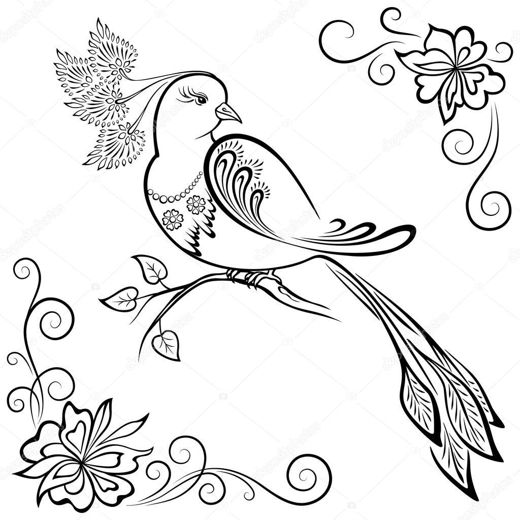 Aves - blanco y negro imagen de paraíso — Archivo Imágenes ...
