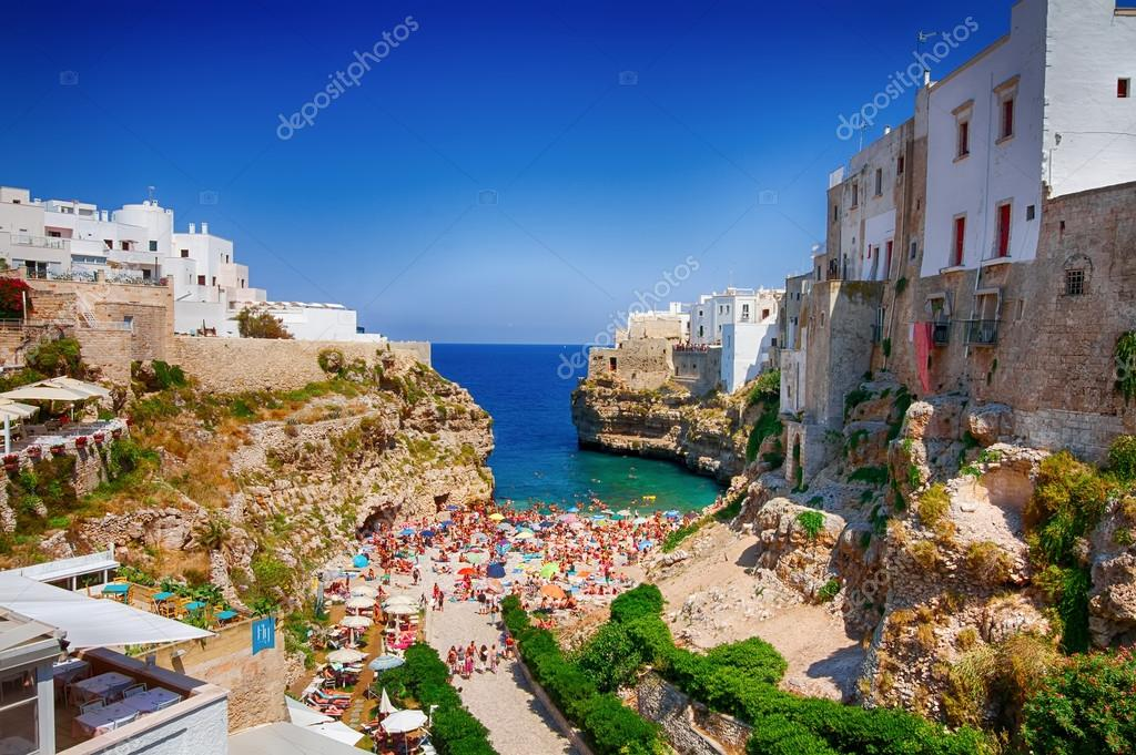 Polignano a Mare summer sea view from the bridge lama monachile