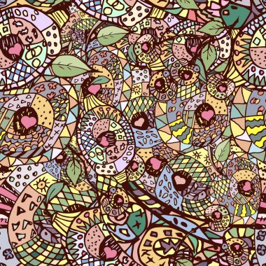 Zentangle colorful seamless pattern