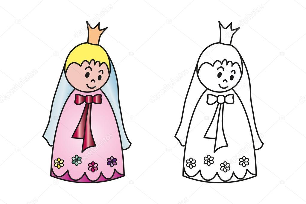 Prenses Boyama Kitabı Için Bir Rakam Stok Vektör Irenlukas 78294842