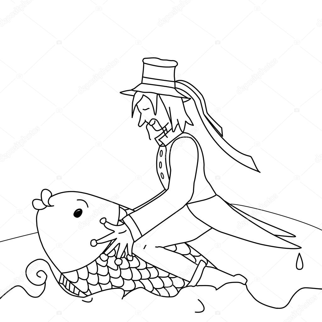 fairy tale character of waterman black and white u2014 stock vector