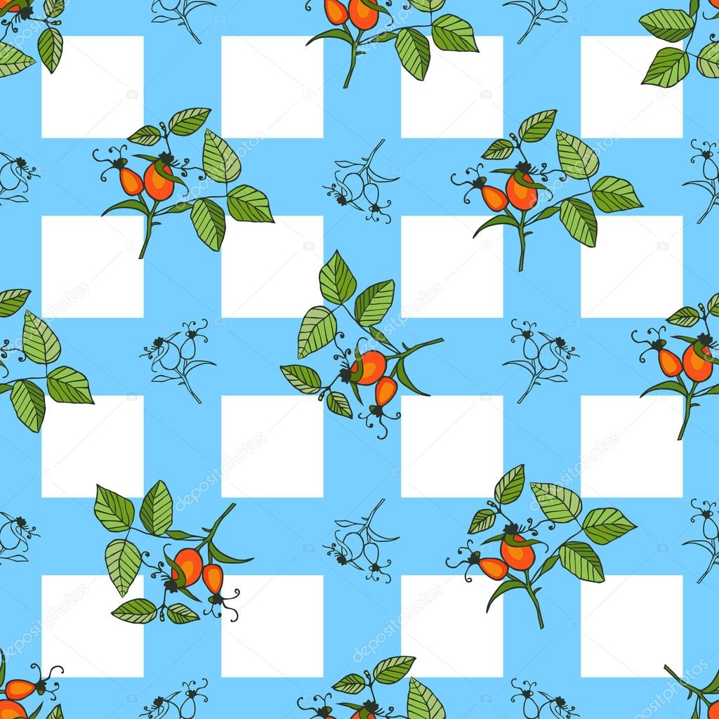 Plant rosehip seamless pattern with blue squares