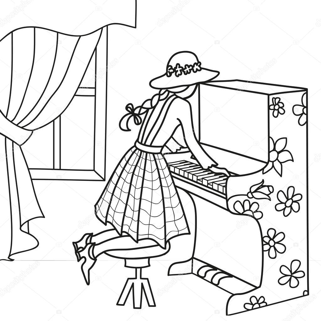 Imágenes Pianos Para Colorear Chica Del Contorno Dibujado A Mano