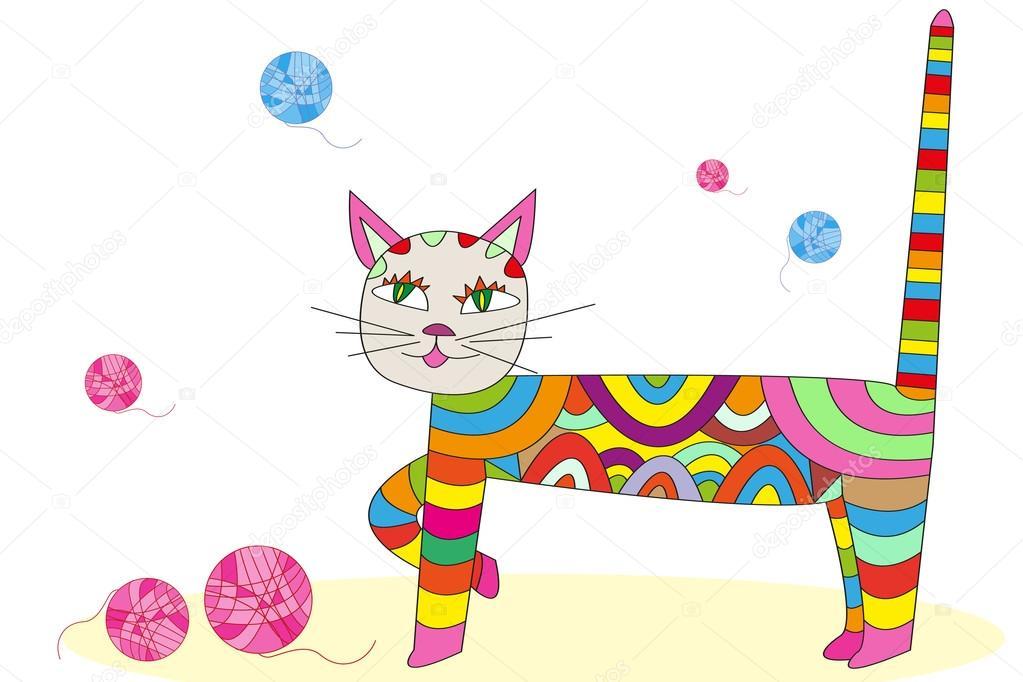 Bunte Katze Vektor Abbildung Zeichentrickfigur, patchwor ...