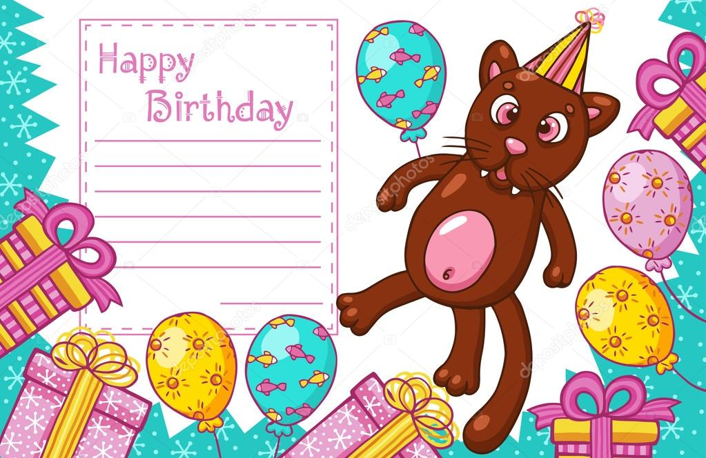 Happy Birthday Card With Cat Stock Vector Nesalomeya 74501861