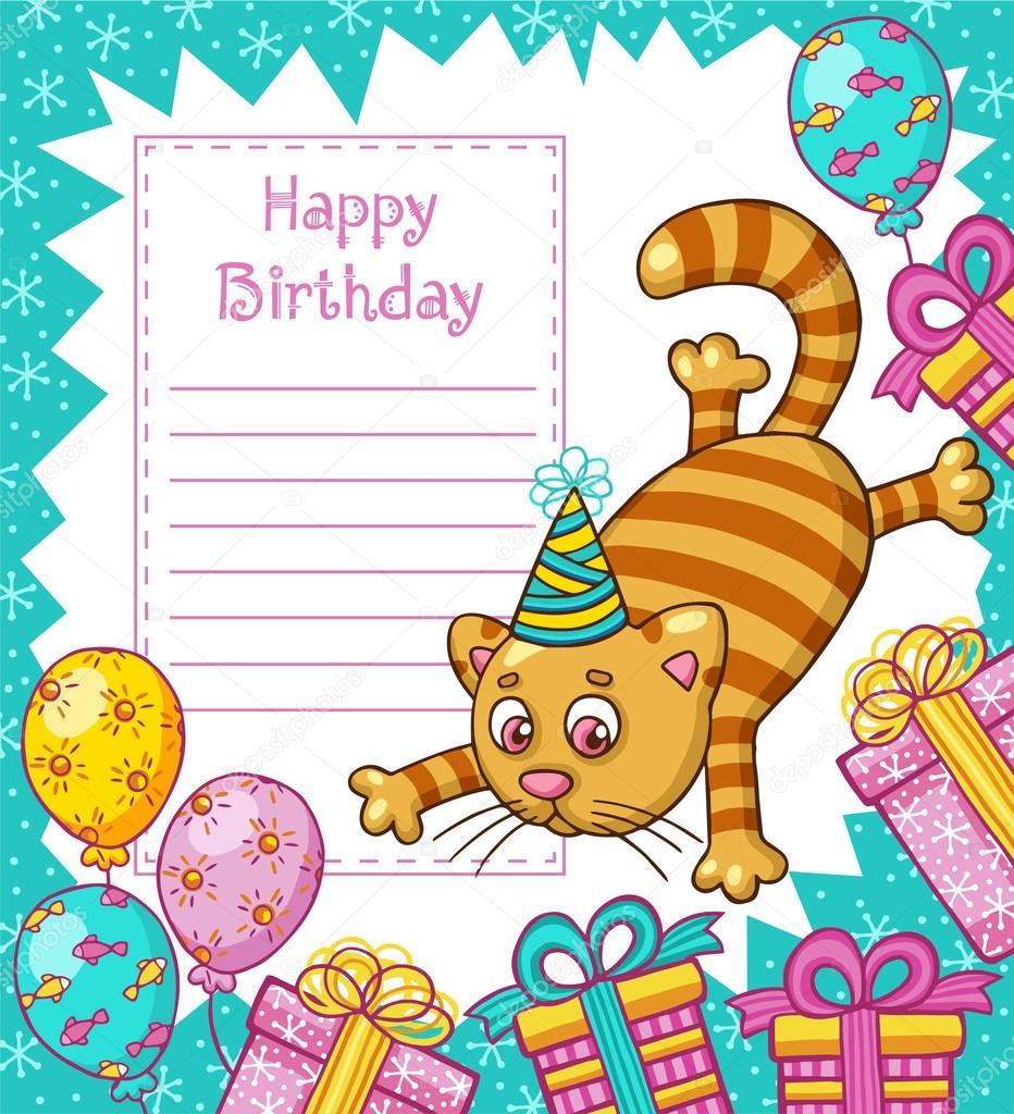 Happy Birthday Card With Cat Stock Vector