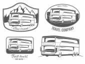 Photo set of tourist bus logo