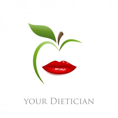 "Картина, постер, плакат, фотообои ""диета векторных знаков, диетолог. рот и зеленое яблоко "", артикул 110376070"