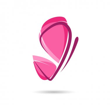 Vector sign pink butterfly