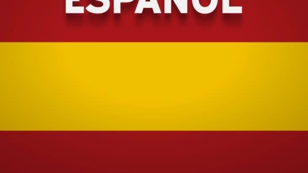 Spanyolul szólva, a spanyol zászlón csörgedezik a szó. 2D animációs háttér. Clip 4k