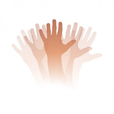 Vector illustration Goodbye, moving hand