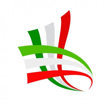 Vector sign abstract italian and mexican flag