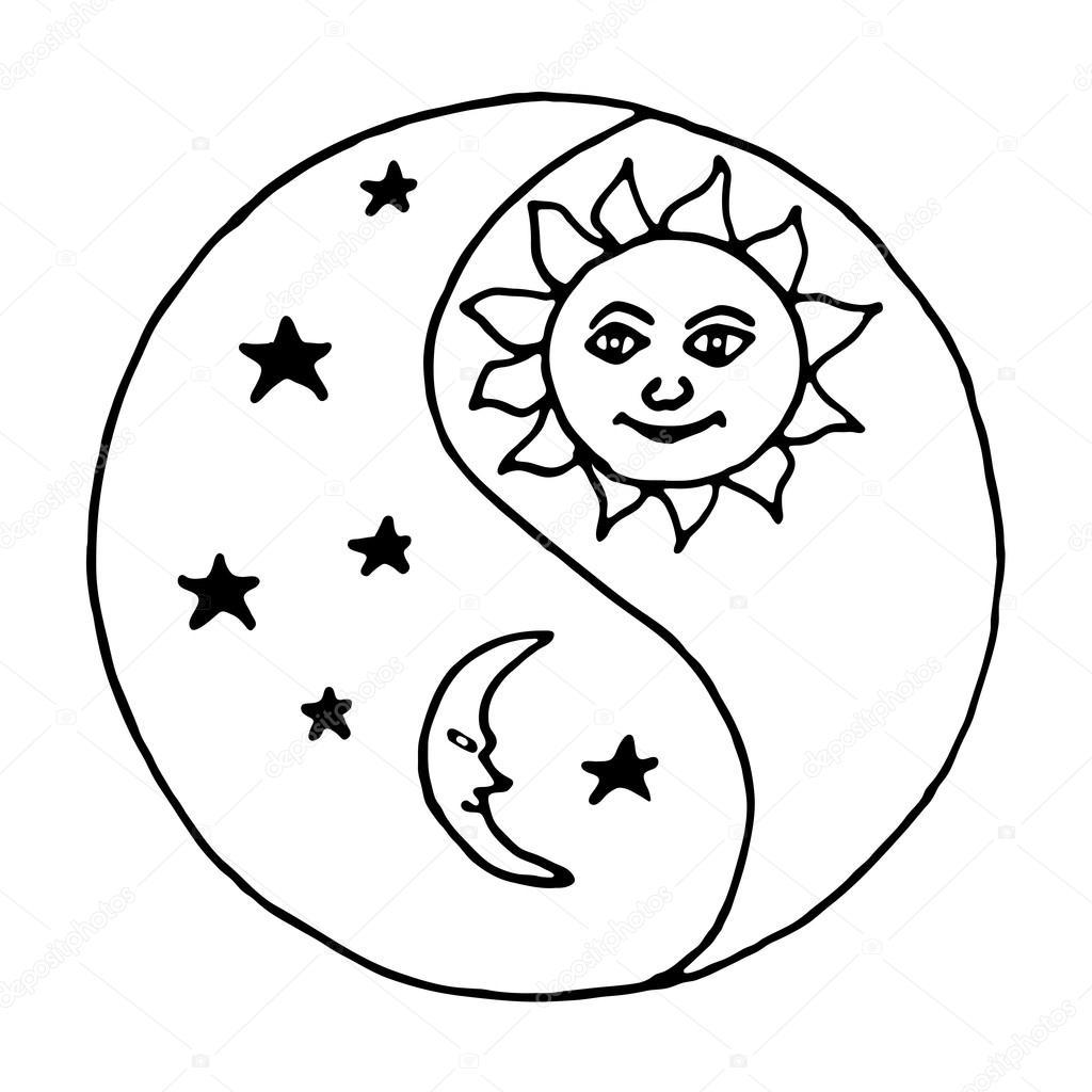Imágenes Dia Tarde Noche Para Colorear Yin Yang Luna En La Noche