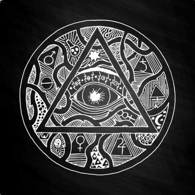 All seeing eye pyramid symbol design on chalkboard