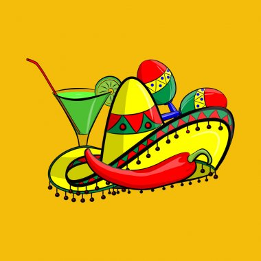 Margarita with sombrero, jalapeno and maracas EPS 10 vector, grouped for easy editing. No open shapes or paths.