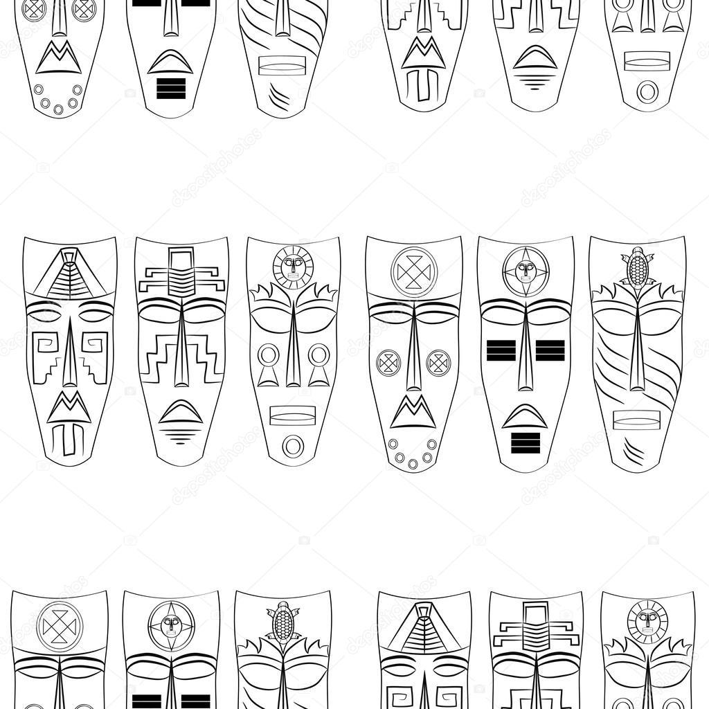 prix bas réflexions sur offrir des rabais Masques de l'Inca. Motif de fond transparente. — Image ...