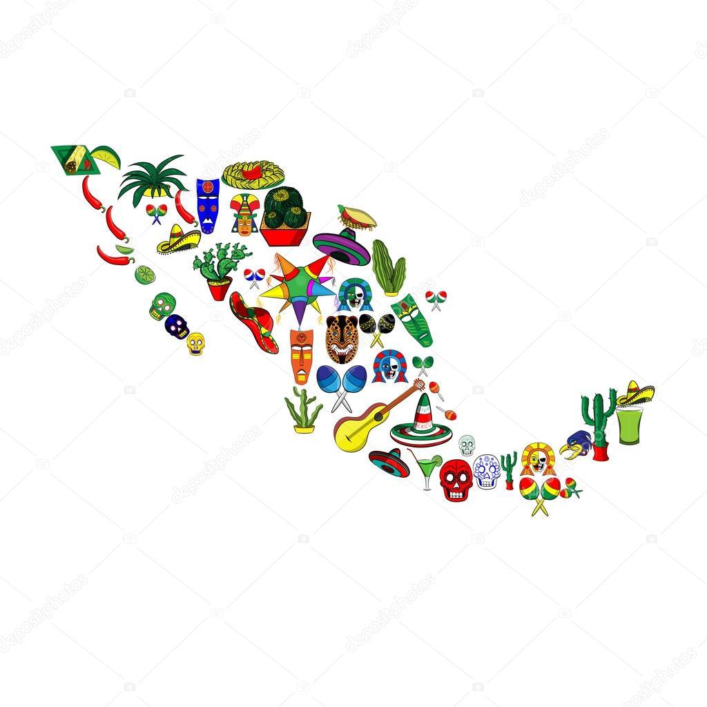 Mapa De México Con El Conjunto De Elementos De Las Ilustraciones - Mapa de mexico