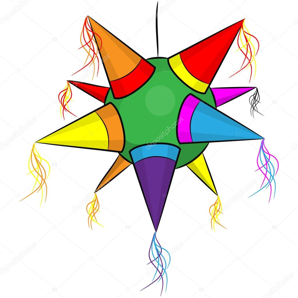 Color mexican pinata, shape star for parties — Stock ...Star Pinata Clipart