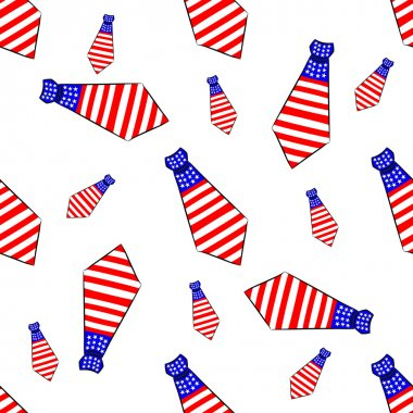 Seamless pattern with ties  painted in the colors of the American flag
