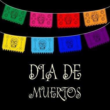 Dia de Muertos - Mexican Day of the death spanish text. decoration clip art vector