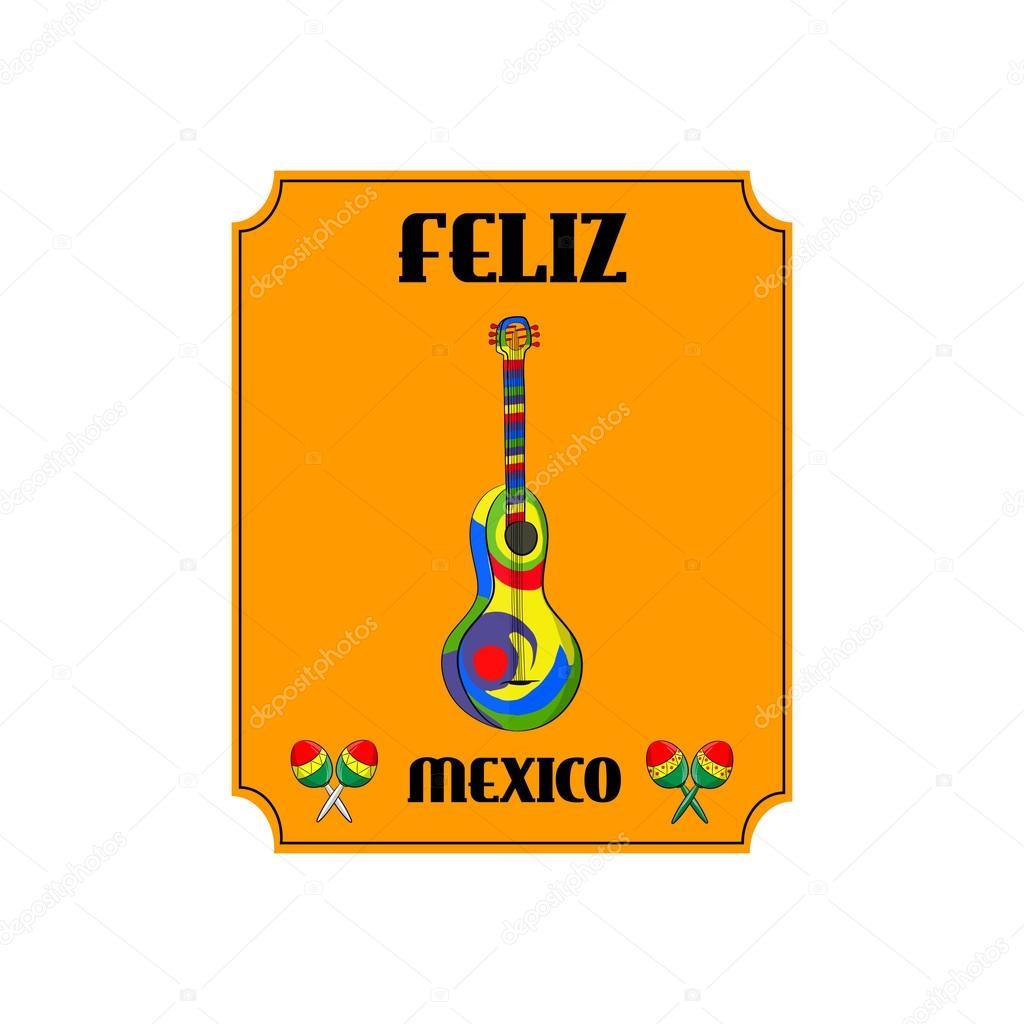 Meksykańskie Instrumenty Muzyczne Gitary I Marakasy Fiesta Plakaty