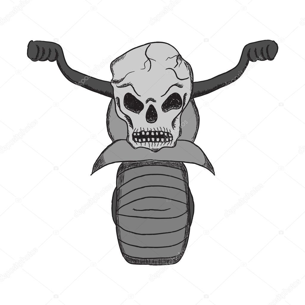 Disegno di moto con un cranio nello stile dei cartoni animati