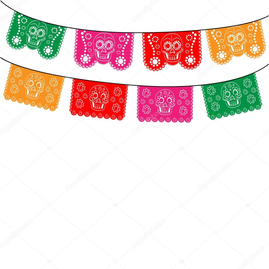 mexico multicolored template with hanging traditional mexican flags rh depositphotos com