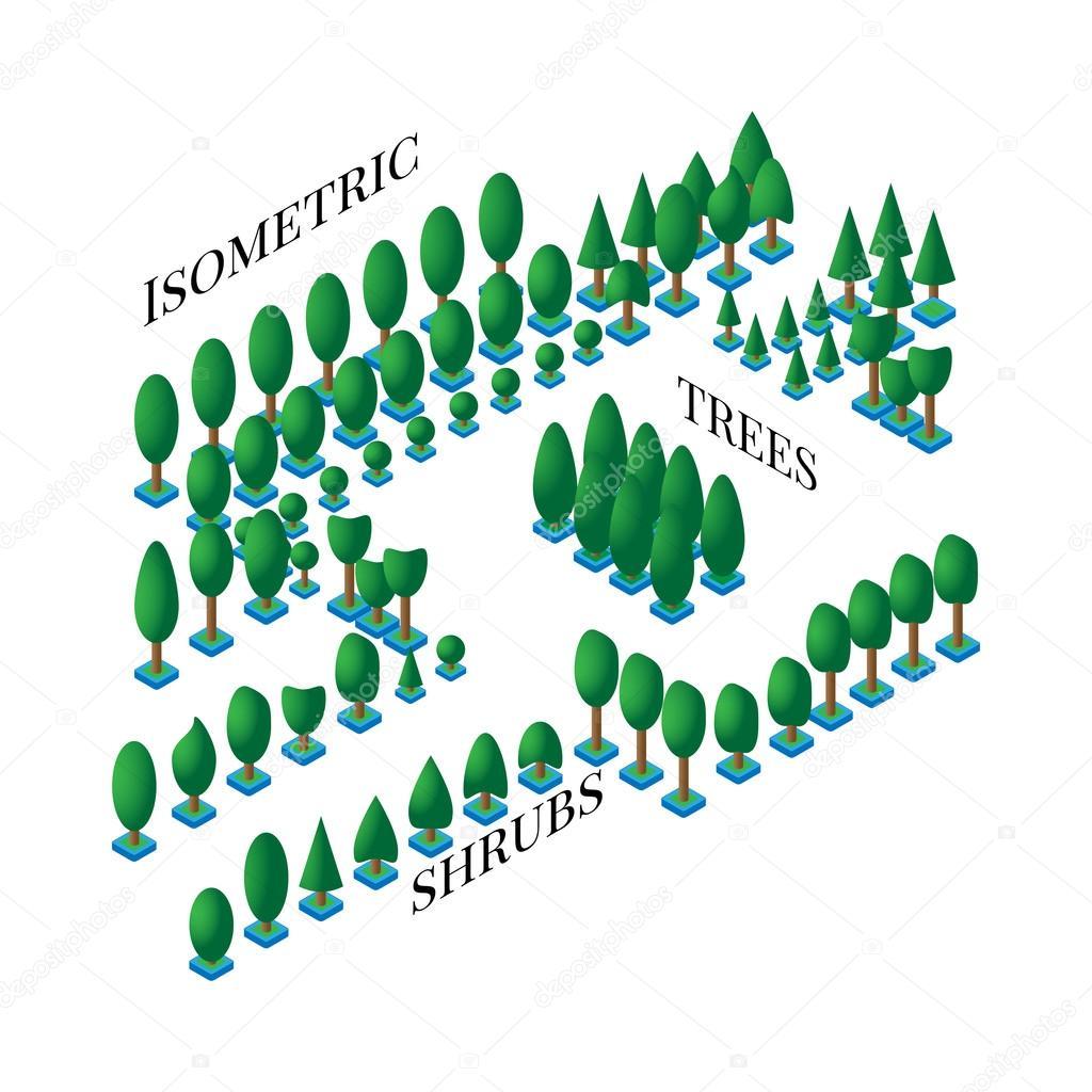 Design Ikonen satz grünen bäumen und büschen in der wohnung ist 3d stile zur