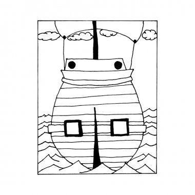 hand draw vintage sailing ship at sea in the style of the sketch for the decoration of gift cards, holidays, Columbus Day, the day the pirates.